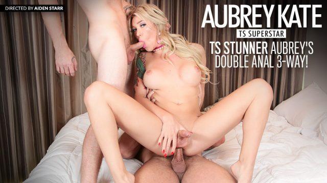 Evil Angel porn TS Stunner Aubrey's Double Anal 3-Way!